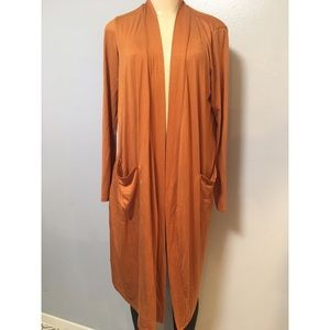 Active USA Women's Long Line Knit Gold Cardigan